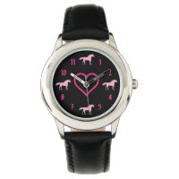 Silhouette Unicorns and Heart Pink and Black Girls Wristwatch