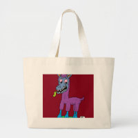 Silly llama Monster Large Tote Bag