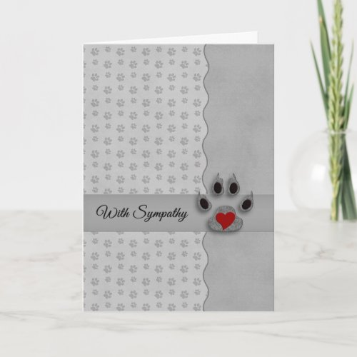 Silver and Black Paw Prints Dog Pet Sympathy Card