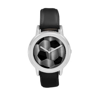 Silver and Black Soccer Ball Wrist Watches