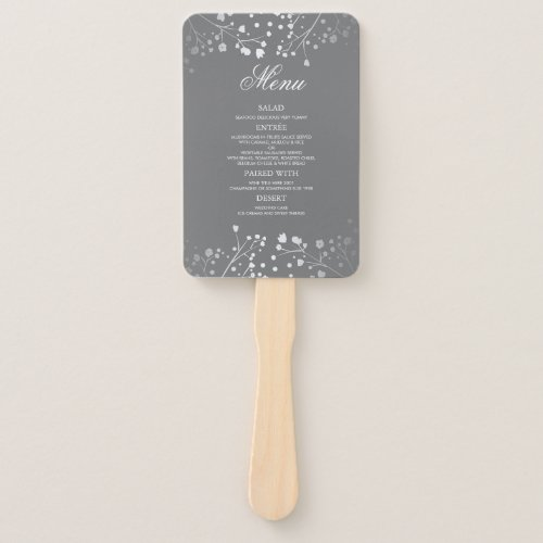 Silver and Grey Wedding Menus Hand Fan