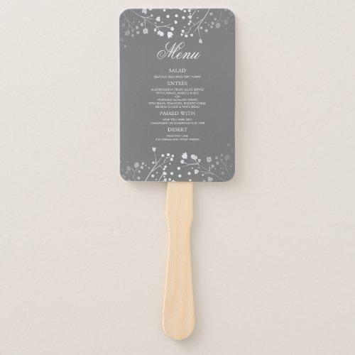 Silver and Grey Wedding Menus Hand Fan
