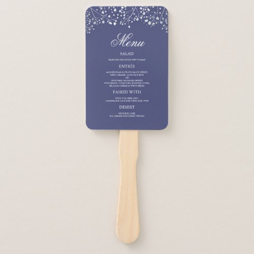 Silver and Navy Blue Wedding Menus Hand Fan