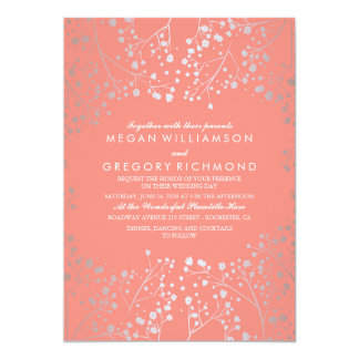 Silver And Pink Baby 39 S Breath Vine Wedding Card