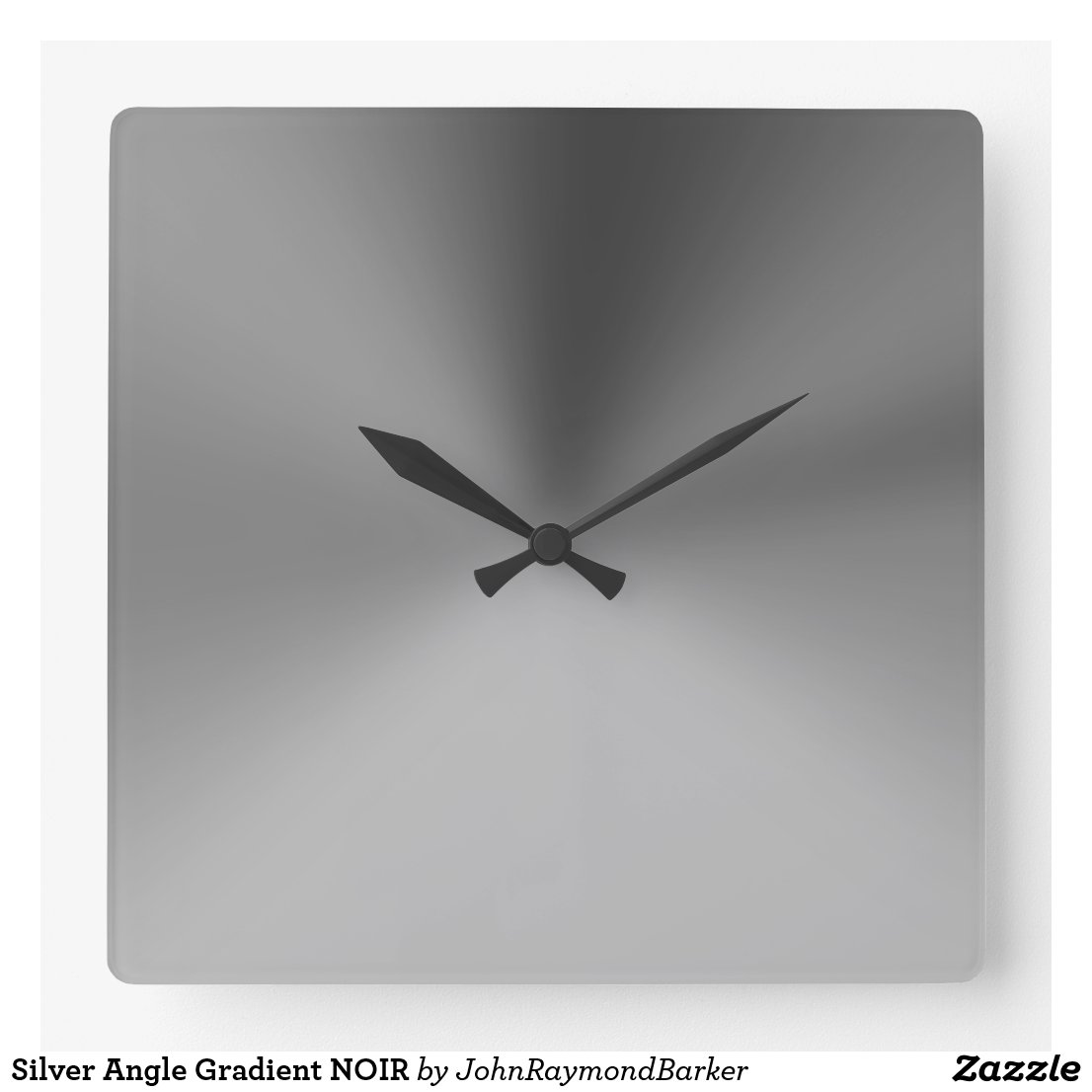 Silver Angle Gradient NOIR Square Wall Clock