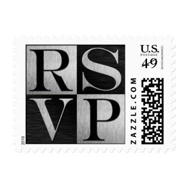 Silver / Black Metallic RSVP Wedding Postage