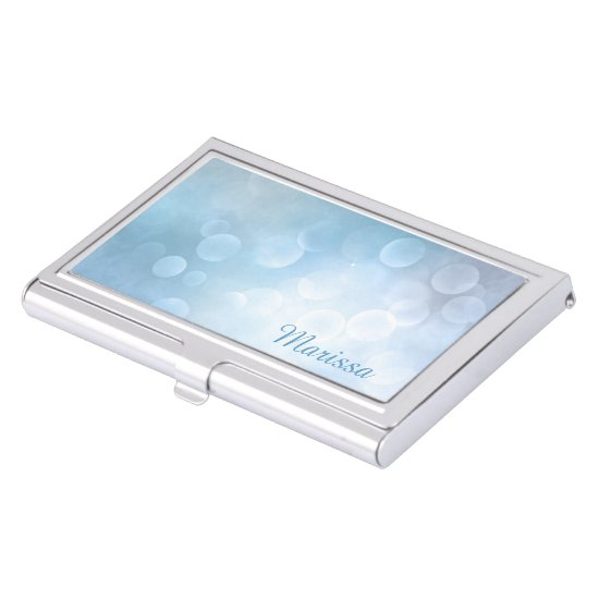 Silver Blue Abstract Bokeh Business Card Case