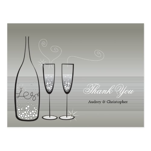Silver Champagne Bubbly Wedding Thank You Postcard