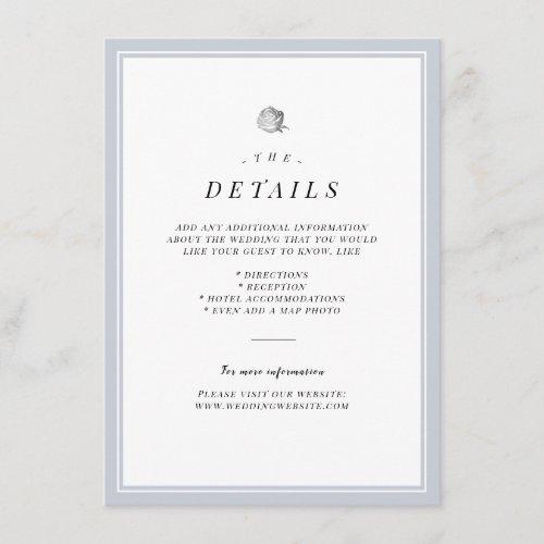 Silver floral minimalist wedding details card