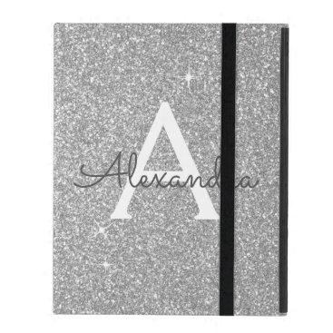 Silver Glitter and Sparkle Monogram iPad Case