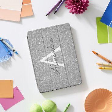 Silver Glitter and Sparkle Monogram iPad Pro Cover