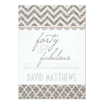 Silver Glitter Forty and Fabulous Birthday Invite