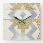 silver,gold,rustic,retro,vintage,geometry,pattern, square wall clocks