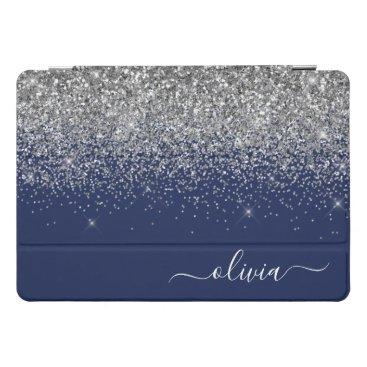 Silver Navy Blue Girly Glitter Sparkle Monogram iPad Pro Cover