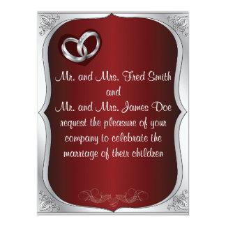 Silver Rings Pearls Dark Red Wedding Invitation