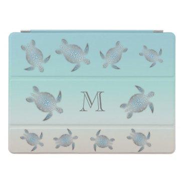 Silver Sea Turtles Beach Style Monogram iPad Pro Cover