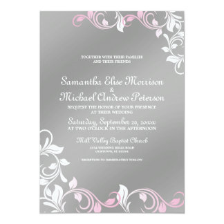 Grunge Damask Pink Faux Silver Wedding Invitations