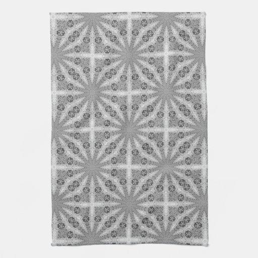 Silver Shine GeoSquare Pattern Kitchen Tea Cloth Hand Towels