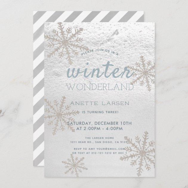 silver snowflake winter wonderland birthday invitation zazzle com