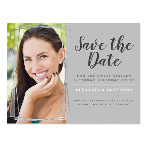 Silver Sweet 16 Birthday Save the Date Postcard