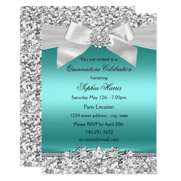 Silver Teal Glitter Amp Jewel Bow Quinceanera Card Zazzle