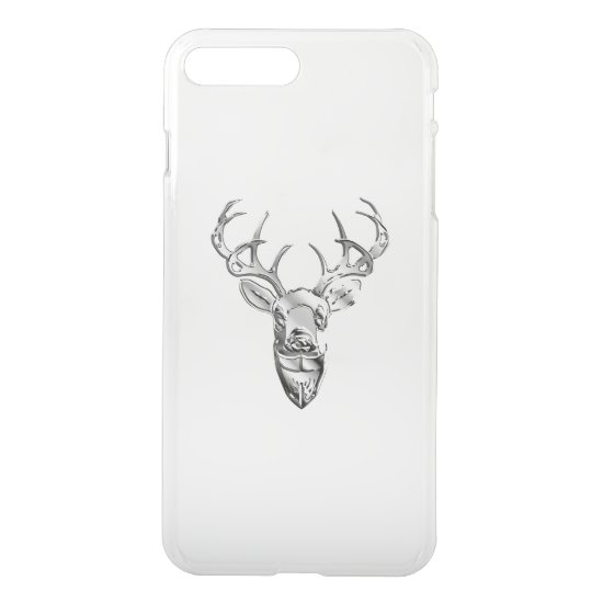 Silver Whitetail Deer on Carbon Fiber Style iPhone 8 Plus/7 Plus Case