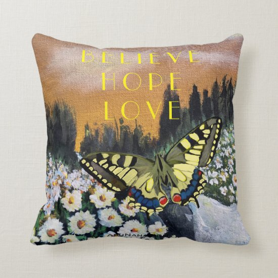 Simple Believe Hope Love Butterfly Throw Pillow