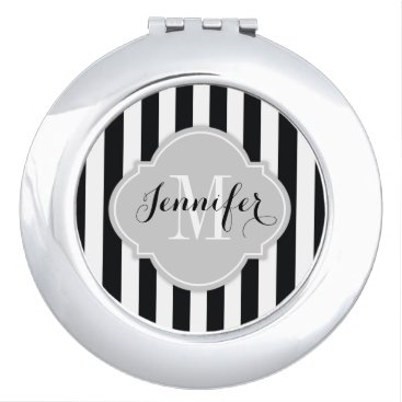 Simple Black and White Stripes with Monogram Vanity Mirror