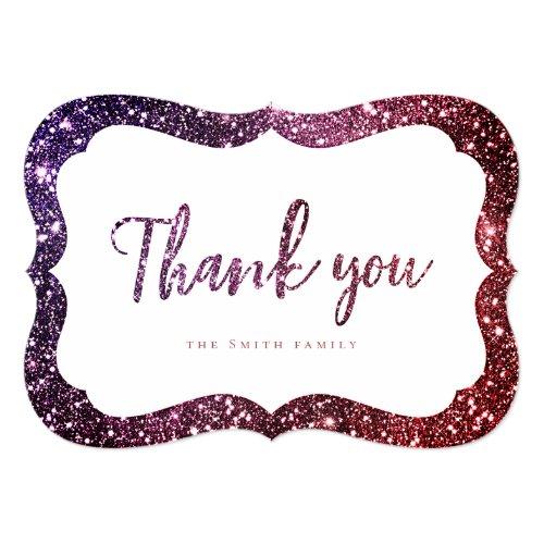 Simple Burgundy purple sparkle glitter thank you Invitation