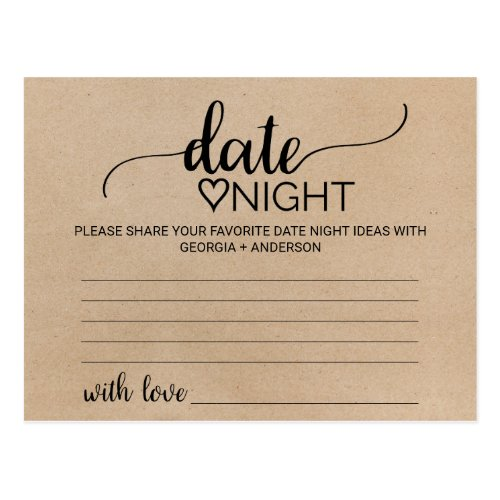 Simple Faux Kraft Calligraphy Date Night Idea Card