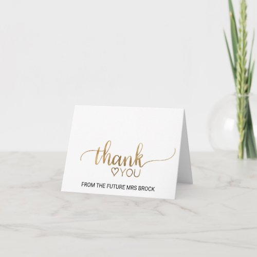 Simple Gold Calligraphy Bridal Shower Thank You