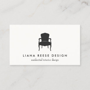 Interior Design Logo Business Cards   Zazzle Simple Interior Design French Chair Logo Cream Business Card