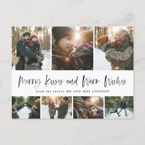 Simple Merry Kisses Warm Wishes Save The Date Grid Holiday Postcard