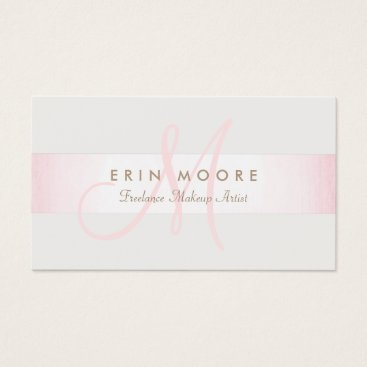 Simple Monogram Modern Pink Striped Beauty Salon Business Card
