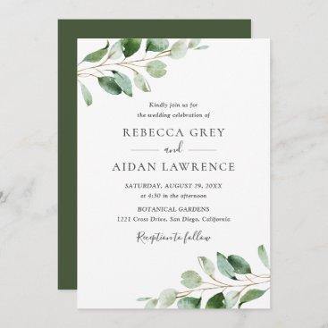 Simple Moody Eucalyptus Greenery Wedding Invitation