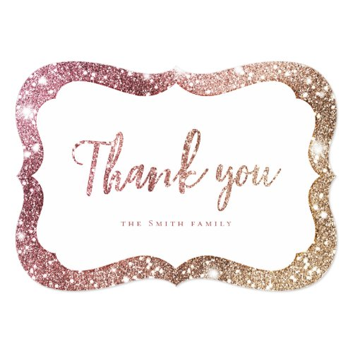 Simple sparkle rose gold glitter thank you invitation
