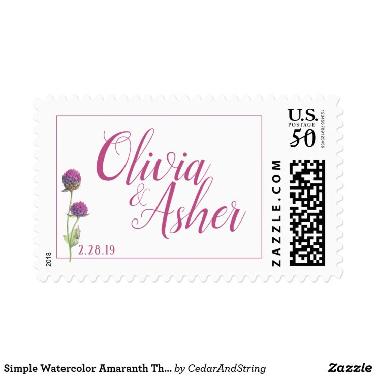 Simple Watercolor Amaranth Thistle Flower Wedding Postage
