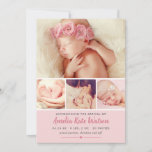 Simply Sweet | Pink Baby Girl Photo Collage Birth Announcement