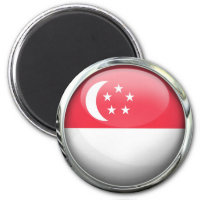 Singapore Flag Glass Ball 2 Inch Round Magnet
