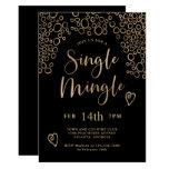 Single Mingle Valentine Party Black and Gold Invitation
