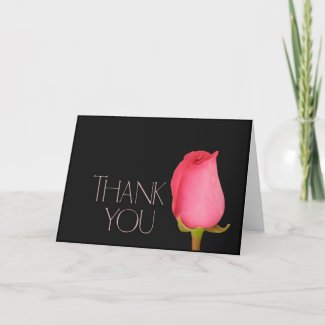 Single pink rosebud thank you card card