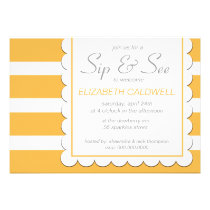 Sip See Bold Stripes Chevron Pattern Honey invitation