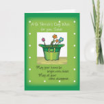 Sister, St. Patrick's Day Hat with Flowers Card