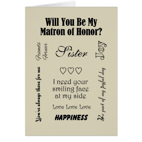 Sister, Will You Be My Matron of Honor? Beige Greeting Card