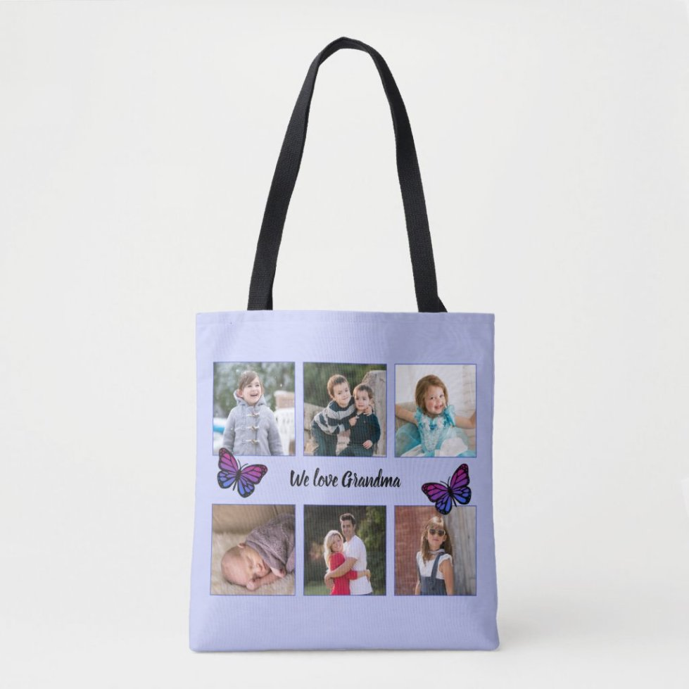 Six photos custom text butterflies blue crossbody bag