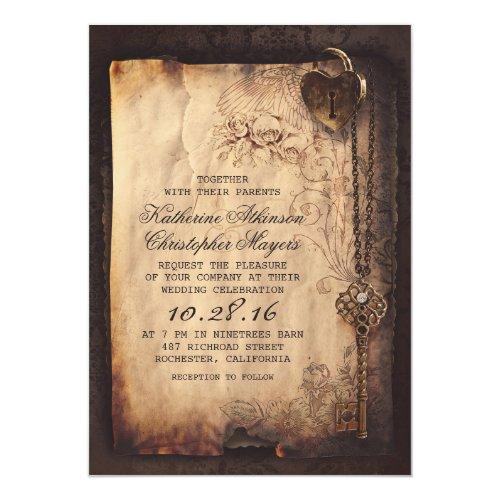 Skeleton Key Vine Wedding Invitations