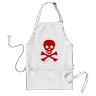 Red Skull on White Apron on Zazzle