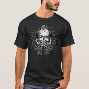 Skull With Rose, Horns, Cross, Wings Illustration T-Shirt