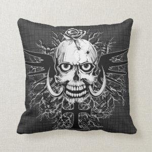 Skull With Rose, Horns, Cross, Wings Illustration Throw Pillow