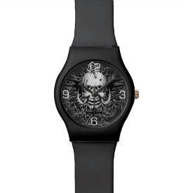 Skull With Rose, Horns, Cross, Wings Illustration Watch